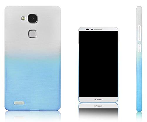 Xcessor Transition Farbe Flexible TPU Case Schutzhülle für Huawei Ascend Mate 7 Phablet. Mit Gradient Silk Gewinde Textur. Transparent/Hellblau