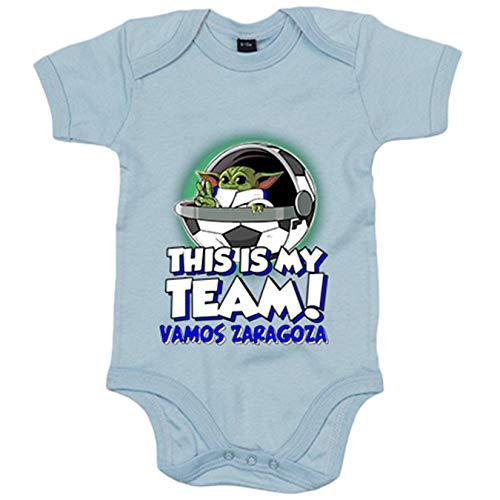 Body bebé parodia baby Yoda mi equipo de fútbol Vamos Zaragoza - Celeste, 6-12 meses