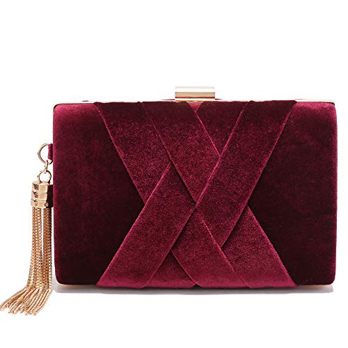 Leather Evening Clutches Handbag Bridal Purse Party Bags for Prom Cocktail (Maroon)