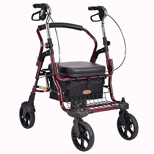 Altura Walker Drive Medical volante ajustable, la postura erguida rodillo Walker gran sala, super aluminio ligero, la movilidad portátil Walker Walker con 4 ruedas para los ancianos, Red,rojo