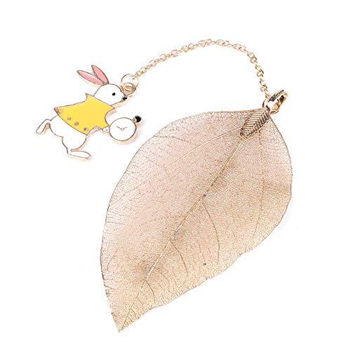 Segnalibro, 1 Pz Segnalibro Foglia In Metallo Color Oro Con Simpatico Ciondolo Coniglio Per Leggere Un Libro Di Carta