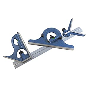 """PEC 12"""" 4R 4 piece combination machinist square with reversing protractor marked with 1/32"""", 1/64"""", 1/8"""", 1/16"""""""