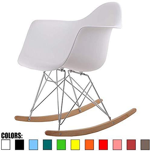 2xhome Single White Mid Century Modern Designer Molded Shell Designer Plastic Rocking Chair Chairs Armchair Arm Chair Patio Lounge Garden Nursery...
