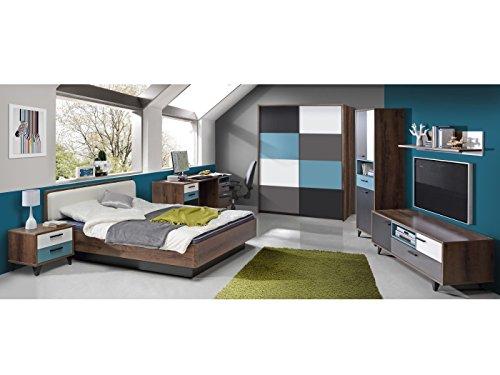 möbel-direkt Jugendzimmer Raven 7 TLG. 120er Bett und Schwebetürenschrank