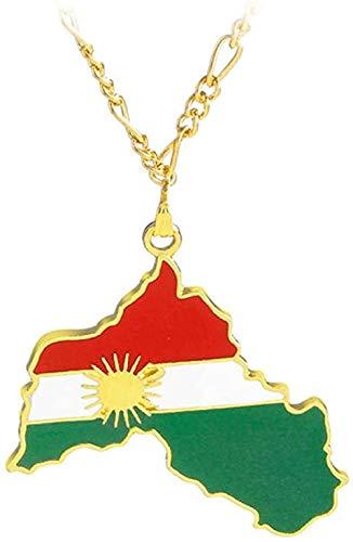 YZXYZH Collar Cadena De La Bandera Nacional De Joyería Kurda para Mujeres, Hombres, Región del Kurdistán, Mapa, Collares Pendientes Collar