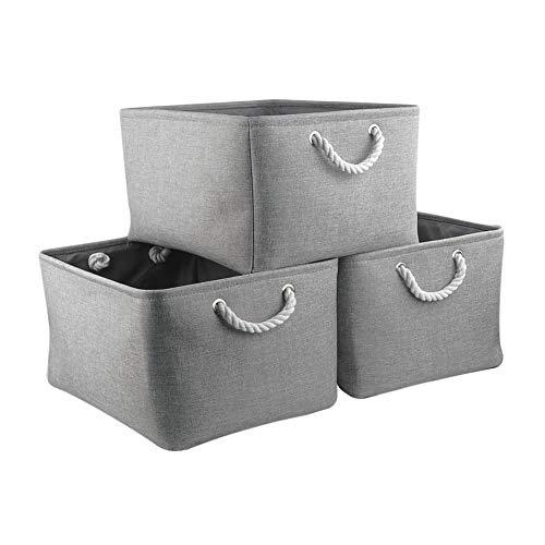 Mangata Aufbewahrungsboxen Stoff, Faltbare Aufbewahrungskorb grau mit Griffen, 3er-Pack (grau, Jumbo)