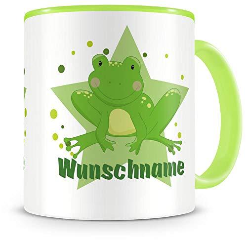 Samunshi® Kinder-Tasse mit Namen und Frosch als Motiv Bild Kaffeetasse Teetasse Becher Kakaotasse