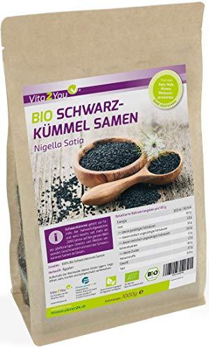 Bio Schwarzkümmel Samen 1000g - Ägyptischer Schwarzkümmelsamen - 100% Bio Qualität - Premium Qualität - Abgefüllt in Germany