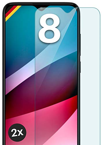 moex Panzerglas kompatibel mit Xiaomi Redmi 8 - Schutzfolie aus Glas, bruchsichere Bildschirmschutz Folie, Crystal Clear Panzerglasfolie, 2X Stück