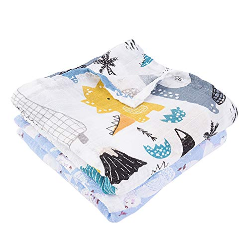 "Muslin Swaddle Blankets 2 Pack – Large Unisex Silky Soft Bamboo Baby Receiving Blankets Swaddle Wrap for Boys and Girls (55""x42"")"