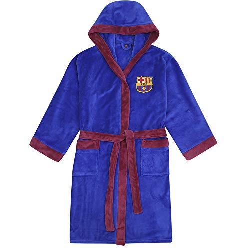 FC Barcelona - Herren Fleece-Bademantel mit Kapuze - offizielles Merchandise Fußballfans - Blau - M