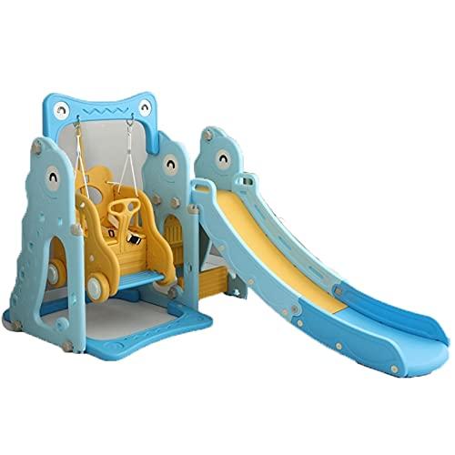 NGLSCXR 4 en 1 Kids Slide Swing Playset Kids Combinación Escalador/Toblar/Swing/Baloncesto Hoop Playset con Diapositiva Larga con el Baloncesto Meta de fútbol para niños (Color : Azul)