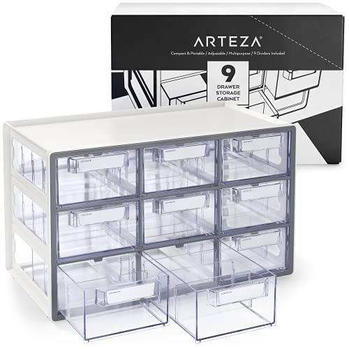Arteza 9 Drawer Storage Cabinet, 16.1 x 9.3 x 9.8 inches, White, Plastic Drawers with Stoppers, Multi Compartment Organizer for Makeup and Art Supplies