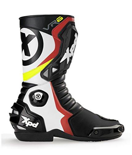 XPD - Stivali da Moto VR6, Nero/Bianco/Rosso, 47