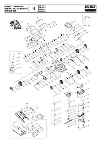 Dolmar 671933002-1035 achterklep, origineel reserveonderdeel PM-4602 SC