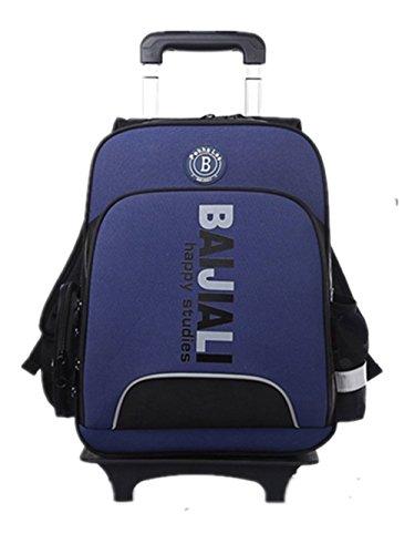 YAAGLE Sicherheit Teleskopgriff Kinder Rucksack Trolley-Tasche Mehrfarbig Damen und Herren Unisex 1-6 Klasse Schulrucksack Reisetasche-dunkelblau