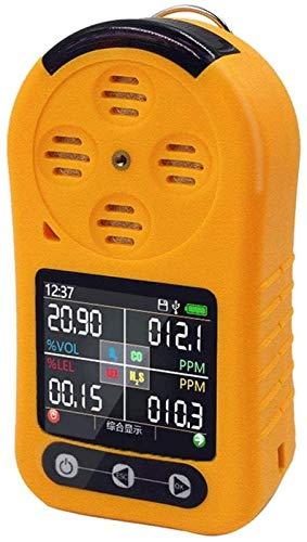 SLL Detector de Gas 4 en 1, Detector portátil EX / O2 / H2S / CO Detector de Gas tóxico y dañino Monitor de Gas múltiple con LCD La Seguridad