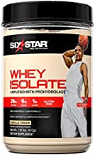 Whey Protein Isolate | Six Star 100% Whey Isolate Protein Powder | Whey Protein Powder for Muscle Gain | Post Workout Muscle Recovery + Muscle Builder | Vanilla Protein Powder (20 Servings)
