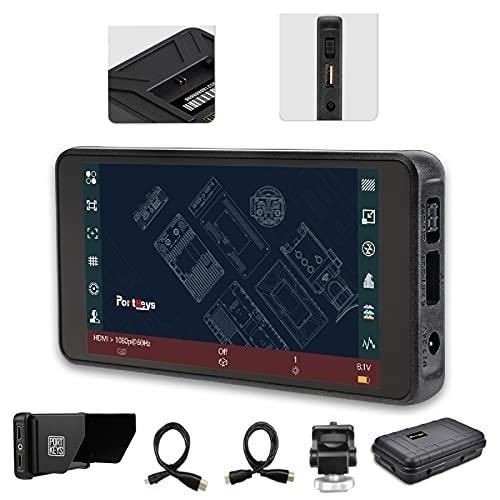 PortKeys Monitor per fotocamera PT5, da 5 pollici professionale DSLR a monitor della fotocamera, controllo touch 3D Lut 1920 x 1080 4 K, uscita HDMI tipo C con protezione solare.