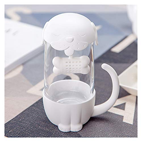 YSJJQSC Taza de Agua 280ml Tazas de té de Cristal de Gato y Perro Lindo con la Taza de la Taza del Filtro del Filtro del Filtro del infusor de los Pescados Regalos de la Novedad de la Novedad envase