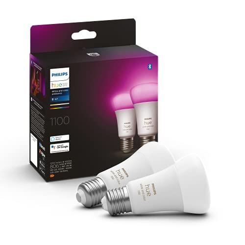 Philips Hue - Bombilla Inteligente, A60 E27, Luz Blanca y de Colores, 10. 5W, Compatible con Alexa y Google Home - Pack de 2 Bombillas LED Inteligentes, 929002468802