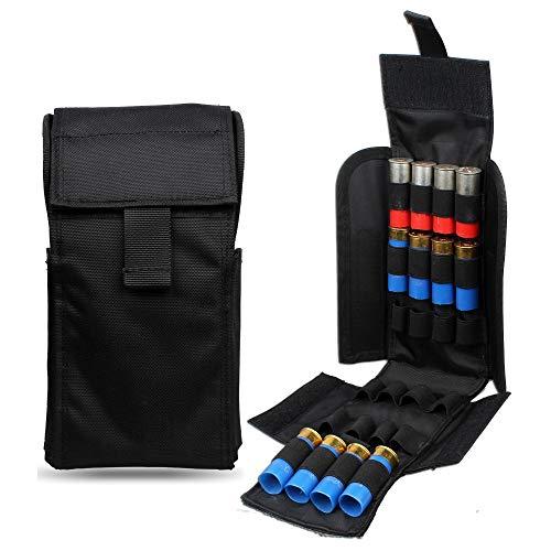 Gexgune Chasse 25 Ronde 12GA Coquilles de munitions de Calibre 12 Reload Magazine Pochettes de Rangement Sac Bandolier Bullet Holder Kit Airsoft Tactique (Noir)