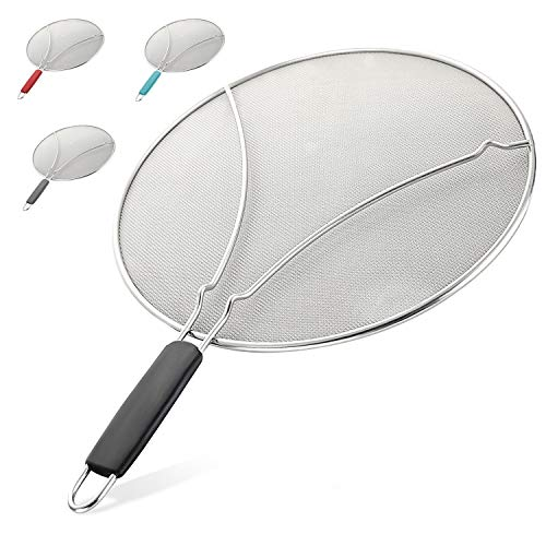 Splatter Screen for Frying Pan - Stops Almost 100% of Hot Oil Splash - Large 13' Stainless Steel Grease Guard Shield and Catcher- Keeps Stove and Pans Clean & Prevents Burns When Cooking by Zulay