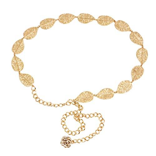 TENDYCOCO Catena da Donna a Forma di Foglia Cintura da Donna Cintura Annodata Decorata per La Decorazione del Vestito (Oro)