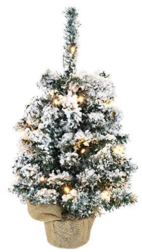 Christmas Concepts 50cm (20') Pre Lit Table Christmas Tree With LED Lights and Burlap Sack Base