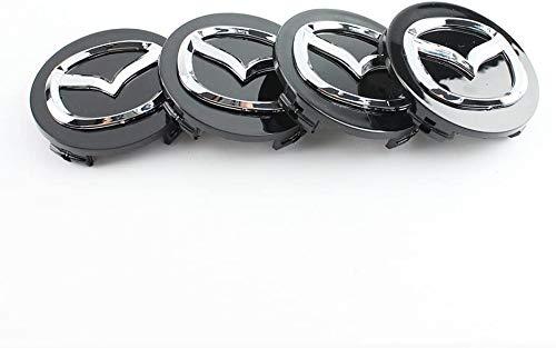 Llantas De AleacióN De 4 X 56 Mm Tapas Centrales Para Bujes Logotipo Cromado Negro De Mazda
