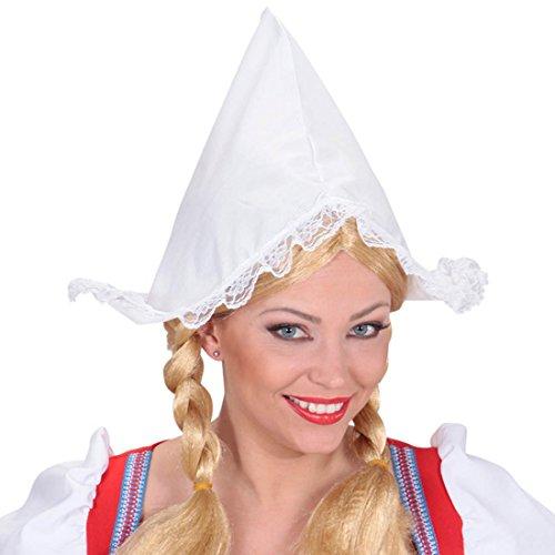 Amakando Hollandhaube Frau Antje Haube weiß Holland Faschingshut Holländerin Hut Karneval Hüte Häubchen Kostümzubehör
