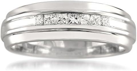 1 3 Carat Diamond Channel Set 14k White Gold 7 Stone Princess Cut Diamond Men s Wedding Band product image