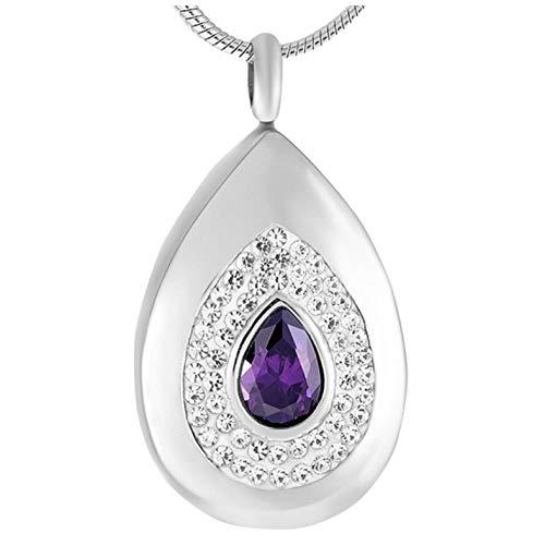 GenericBrands Colgantes de joyería de cremación de Diamantes de imitación púrpura de Gota de Agua de Acero Inoxidable Que contienen Cenizas Mujeres
