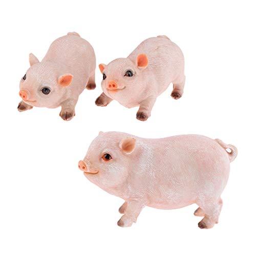 Fenteer 3pcs Statues Cochon Sculptures Décor Figurines Animaux Résine