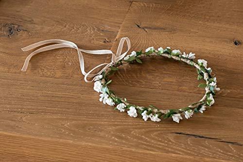 Diadema boda de flores blancas ajustable diametro aprox.20 cm