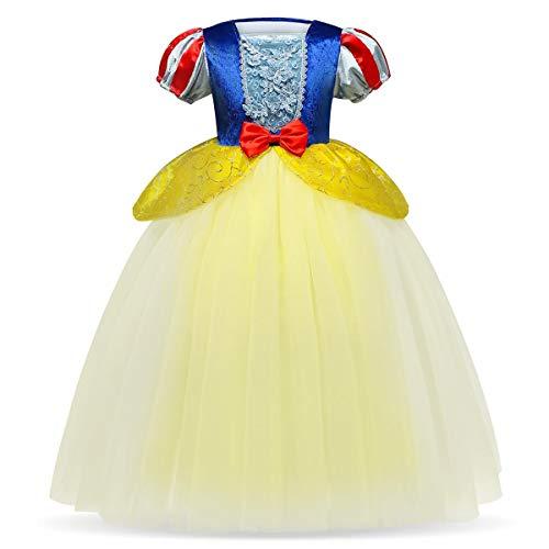 FYMNSI Disfraz de Blancanieves para Niña, Chica Infantil Blanca Nieves Manga Corta Tutu Princesa Vestido para Fiesta Carnaval Cosplay Halloween Ceremonia Navidad Amarillo 02 2-3 Años