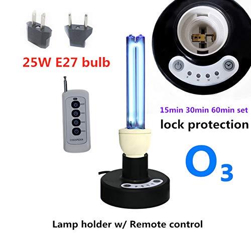 QPOWY Kit di Controllo remoto con Timer con Lampada da Tavolo a Luce germicida al Quarzo UV 25 Watt, disinfetta l'ozono e Libera, Spina USA o UE , Protezione Blocco