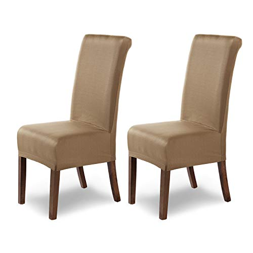 SCHEFFLER-Home Stuhlhussen Stretch Marie / Stuhlhussen Beige 2er Set / elastische Stuhlabdeckungen mit Fleckenschutz / Stuhlhussen...