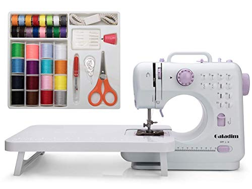 Sewing Machine by Galadim (12 Stitches, 2 Speeds, LED Sewing Light, Foot Pedal) - Electric Overlock Sewing Machines - Small Household Sewing Handheld Tool GD-015-AV