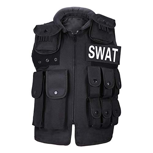 UNIQUEBELLA Chaleco táctico Molle Swat policía Airsoft Militar de Combate Chaleco con múltiples Bolsillos y 2 Insignias para los Fans Militares Adultos niños Actividades al Aire Libre Negro, Negro