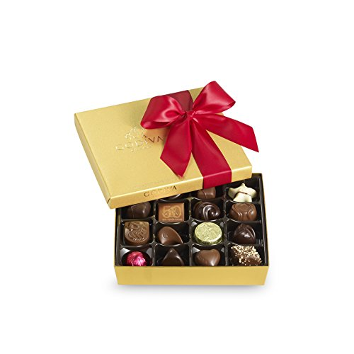 Godiva Chocolatier Red Ribbon Gold Ballotin Assorted Gourmet Chocolates 19 Count Gift Box, Great for Gifting