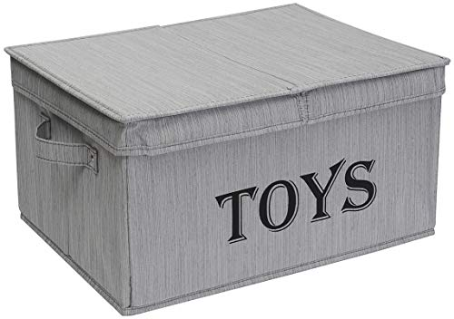 Xbopetda Toy Storage Organizer Chest for Kids & Living Room, Nursery, Playroom, Closet etc. –Large Collapsible Toys Bin with lid for Children & Dog Toys, Great Box for Boys and Girls-Slub Gray