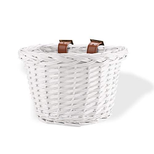 syiniix Cute Bike Basket, Front Handlebar Wicker Bicycle Basket, Height 6inch. (White)