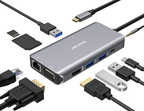 USB C Hub, Type C Dongle MacBook Adapter with 4K HDMI, 100W Power Delivery, 3 USB 3.0 Ports, Ethernet, VGA, Audio and SD/TF Card Reader for Macbook Pro Air 2020/2019/2018,Surface Book, Chromebook