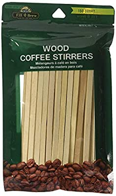 Fill 'n Brew Wood Coffee Stirrers (150 count, resealable package)