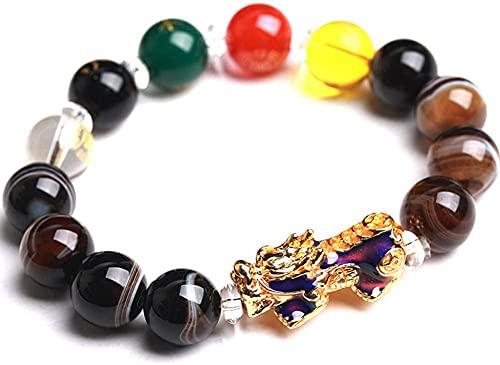 ZHIRCEKE Pulsera de ágata de Cristal Natural Pulsera con Cinco Elementos Beads de Buena Suerte y Pi Yao/Pi Xiu Colgante Bangle Weyrique Jewelry Saint Valentine's Day Regalo