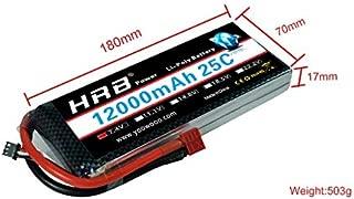 Accessories HRB RC Lipo 12000mAh Battery 2S 3S 4S 5S 6S 7.4V 11.1V 14.8V 18.5V 22.2V 25C MAX 50C T Bandage for RC Helicopter Airplane - (Color: 2S 7.4V 12000MAH)