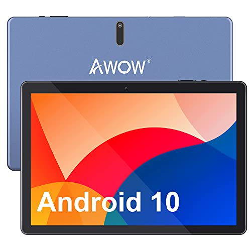 Tablet 10 Zoll Android 10 Tablet Quad-Core-Prozessor, AWOW Tablet 10 Angebote, 4GB RAM, 64GB eMMC, 1.5~1.6GHz, 1280 x 800 HD IPS, 2MP und 13MP Kamera, Android 10, Bluetooth 4.0, Type-C, 5000mAh
