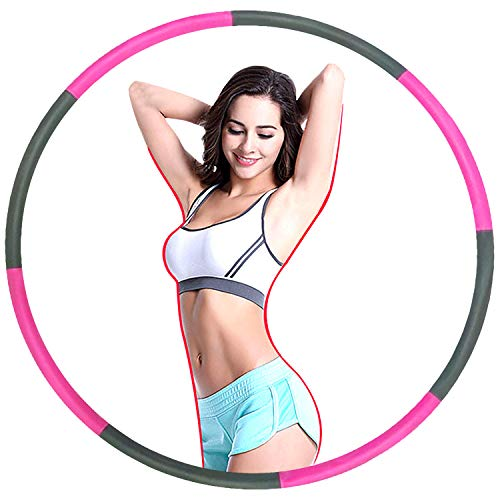 ZIOTHUM Exercise Hoop for Adults, Massage Hoop for Weight Loss, Portable Smooth & Soft Padding Workout Exercise Hoop, Fat Burning Healthy Model Sports Life, Detachable and Size Adjustable Design