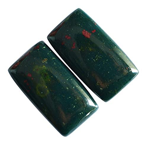 Hermoso rectángulo forma natural Bloodstone par cabujón, 19 quilates, piedra colgante, liso, pendientes para hacer joyas con piedras preciosas, 24160